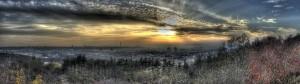 Čertův vršek - Pohleda na Prahu při západu slunce